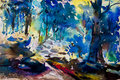 Landscape painting colorful of trees in forest autumn trees. Royalty Free Stock Photo