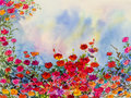 Landscape painting imagination colorful of roses flowers and emotion