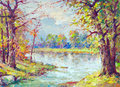 Landscape painting -  river flowing through the forest Royalty Free Stock Photo