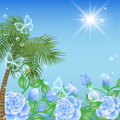 Landscape with palm and sun Royalty Free Stock Photo