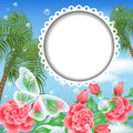 Landscape with palm trees, flowers and transparent Royalty Free Stock Photo