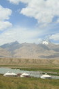 Landscape on the pamirs plateau taxkorgan kashgar xinjiang china Stock Photo