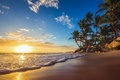 Landscape of paradise tropical island beach, sunrise shot Royalty Free Stock Photo
