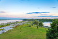 Landscape of park and volga river in yaroslavl city city of rus russian golden ring Royalty Free Stock Image