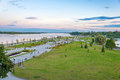 Landscape of park and volga river in yaroslavl city city of rus russian golden ring Royalty Free Stock Photos