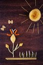 Landscape pasta silhouettes sun and flower made of italian Stock Photos