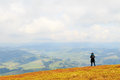 Landscape photography in carpathians mountains photographers take pictures of spring view from the top of the mountain gemba the Royalty Free Stock Photos