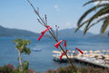 Landscape of pictorial Marmaris Bay, Turkey, with beach dock Royalty Free Stock Photo