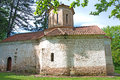 Landscape of a pictorial, old Orthodox monastery, Serbia Royalty Free Stock Photo
