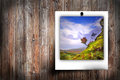 Landscape picture on a screen of boards Stock Photography