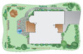 Landscape plan of a residential house Stock Photography
