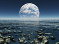 Landscape with planet or earth with terraformed moo rocky watery moon in the distance Royalty Free Stock Photo