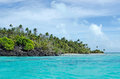Landscape of rapota island in aitutaki lagoon cook islands view it was the location for series the popular us reality tv show Royalty Free Stock Images