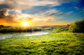Landscape with the rive spring river and sun Stock Image