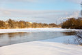 Landscape river covered by ice Stock Photos