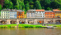 Landscape on the river elbe germany the region of europe old city koenigstein Stock Photography