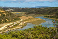 Landscape with river Mira at Vila nova de Milfontes, Portugal Royalty Free Stock Photo