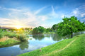 Landscape with the river spring and sun Royalty Free Stock Images