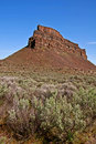 Landscape Sagebrush and High Rocky Mountain Bluff Stock Photo