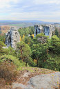 Landscape with sandstone rocks in bohemian paradise autumn Royalty Free Stock Photo