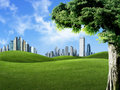 Landscape scene of nature against buildings, indus Stock Image