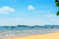 Landscape, sea, sky, clouds and fishing boats in Thailand Royalty Free Stock Photo
