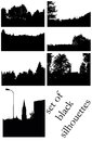 Landscape silhouettes town and wood black set isolated on white background Stock Photo