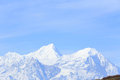 Landscape of snow mountain under blue sky Royalty Free Stock Photo