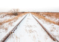 Landscape of Snowy Train Tracks Royalty Free Stock Photo