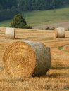 Landscape with straw rolls Stock Images