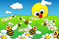 Landscape with sun and bees - Kid illustration Stock Photo