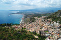 Landscape of taormina sicily italy aerial view city Stock Photo