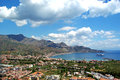 Landscape of taormina sicily italy aerial view city Royalty Free Stock Photos
