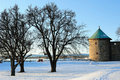 Landscape with the tower of Oslo Fortress Royalty Free Stock Photo