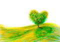 Landscape tree shape heart Royalty Free Stock Photo