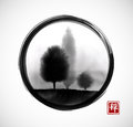 Landscape with trees in fog hand drawn with ink in asian style in black enso zen circle. Traditional oriental ink Royalty Free Stock Photo