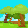 Landscape trees in the jungle illustration of Royalty Free Stock Photography