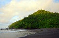 Landscape of tropical hill with beach and ocean rocks Royalty Free Stock Photos
