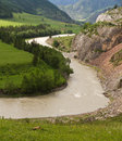 Landscape valley river mountains the altai russia with a and katun among and rocks Royalty Free Stock Photos
