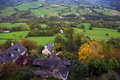 Landscape vew from a hilltop the village turenne correze limousin france Royalty Free Stock Images