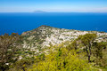 Landscape view of Capri town with blue ocean background, Italy Royalty Free Stock Photo