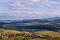Landscape view of the mountains and the river Poprad in Slovakia