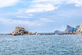 Landscape view in noviy svet in crimea from the sea ukraine Royalty Free Stock Images