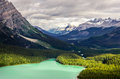 Landscape view of Peyto lake and mountains, Canada Royalty Free Stock Photo