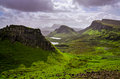 Landscape view of Quiraing mountains on Isle of Skye, Scottish h Royalty Free Stock Photo