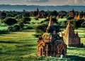 Landscape view on temple area of Bagan in Myanmar Royalty Free Stock Photo