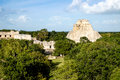 Landscape view of Uxmal archeological site with pyramids and rui Royalty Free Stock Photo