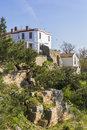 Landscape view white villa on the mountain yorgey in biyukada background top of and rocks a hillside island istanbul Stock Images