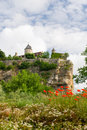 Landscape village rocks french department lot wild flowers foreground Royalty Free Stock Photography