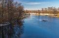 Landscape on a Vorskla river at fall morning in Ukraine